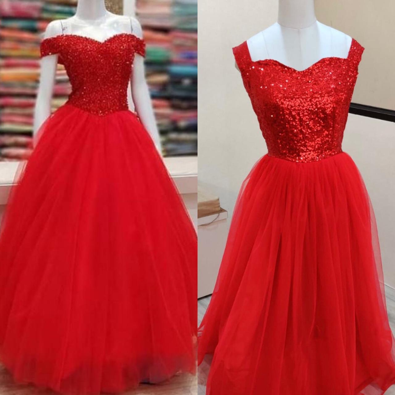 Gorgeous Red Net Gown