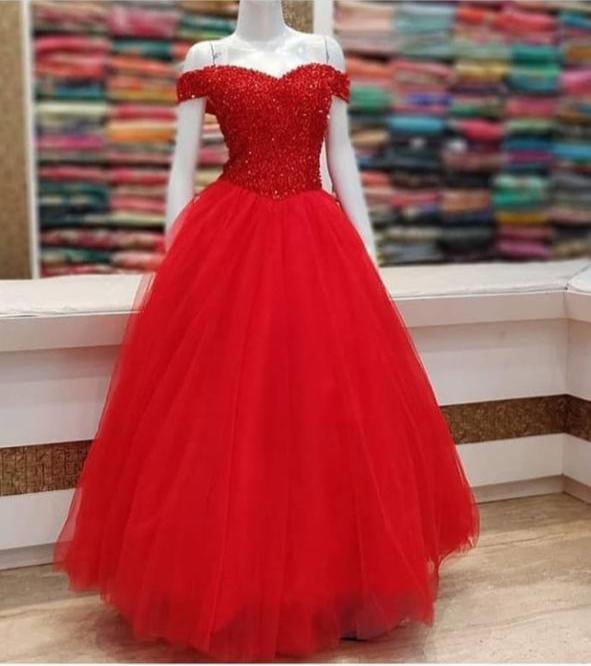 SE Designer Gown Gorgeous Red Net Gown