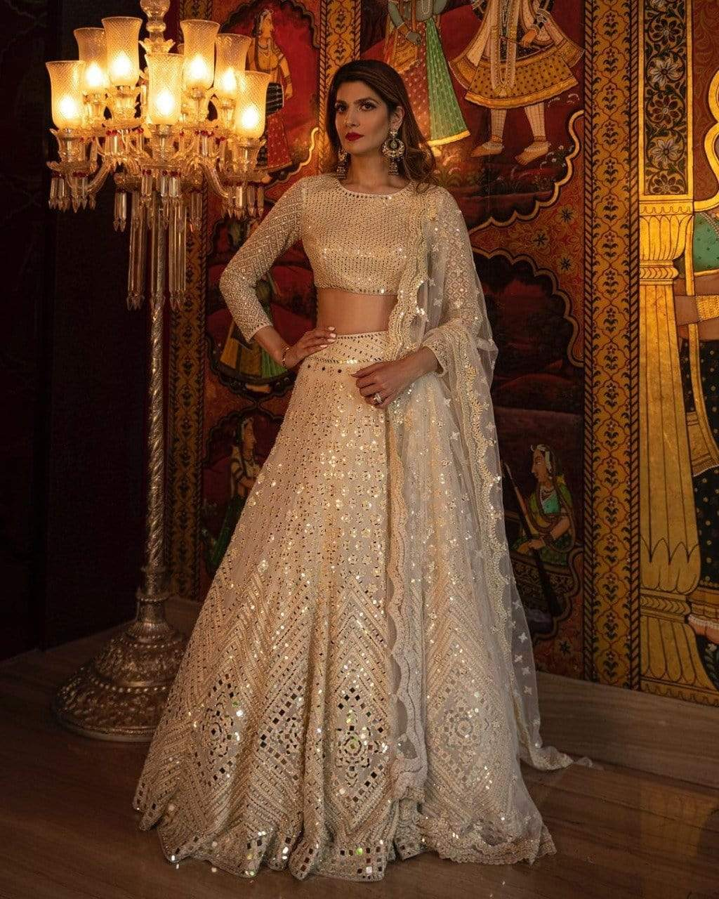 Gorgeous Cream Designer Lehenga Choli
