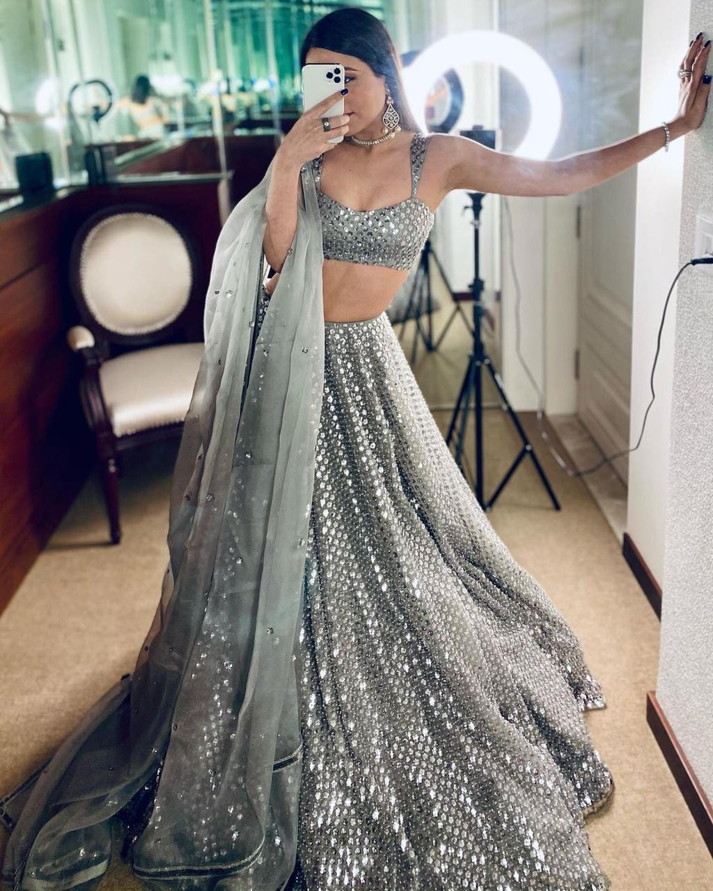 Grey Sequence Lehenga