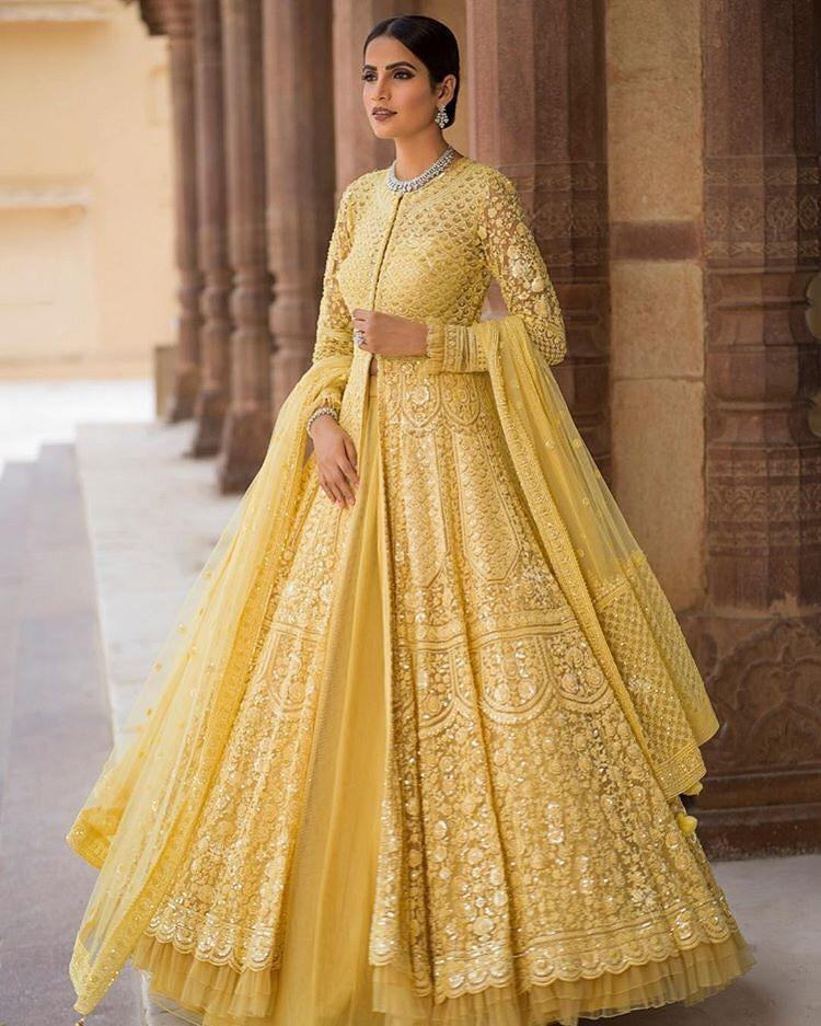 SE designer lehenga New Designer Crushing Yellow Lehenga Choli