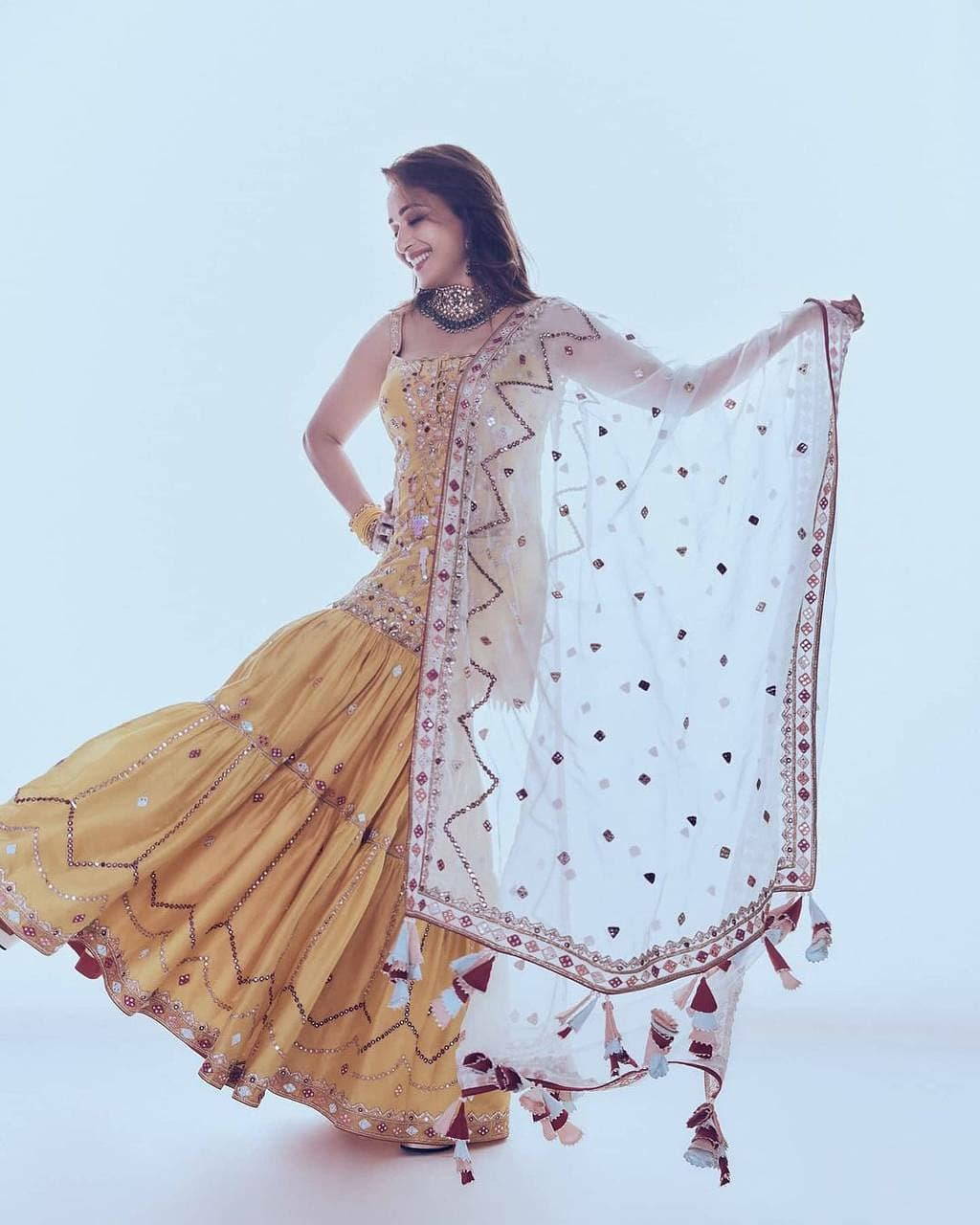 Madhuri Dixit Nene's Beautifully Embroidered Yellow Sharara Set Came With a Strappy Kurta