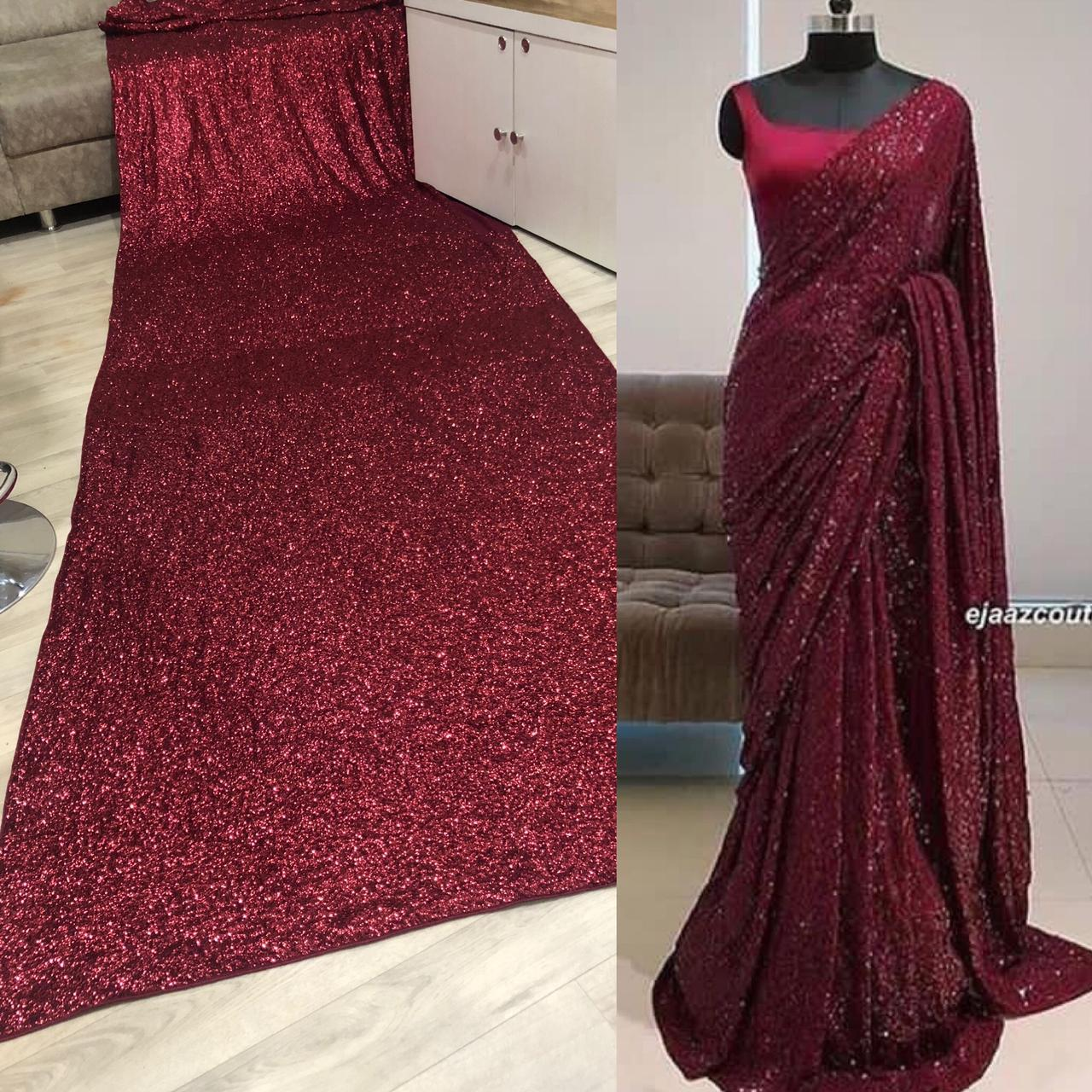 SE designer saree Gorgeous Designer Wine Full Sequence Saree