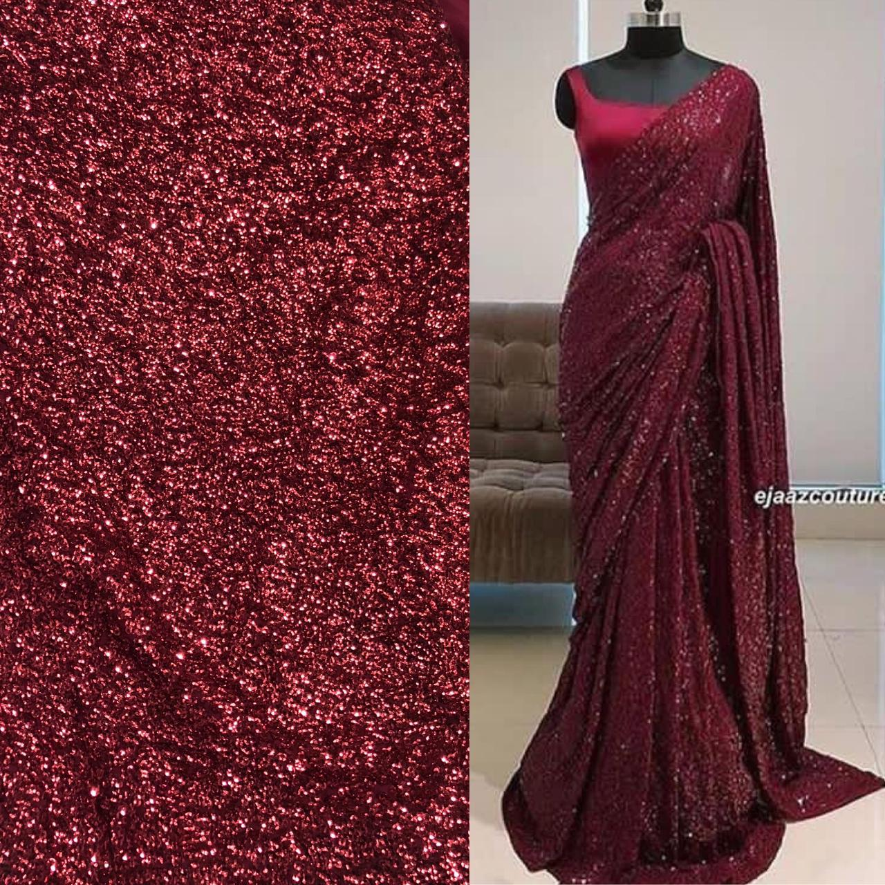 Gorgeous Designer Wine Full Sequence Saree