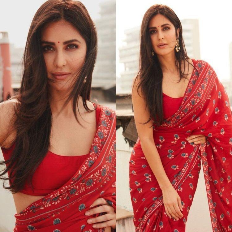 Gorgeous Katrina Kaif's Designer Red Saree