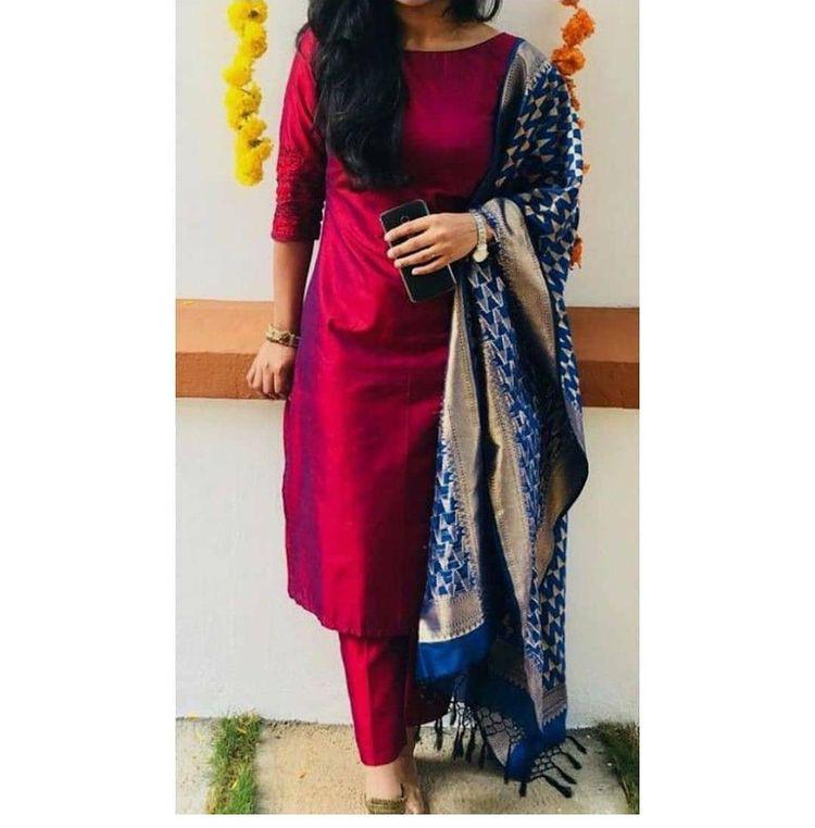 Gorgeous Maroon Suit With Banarasi Dupatta