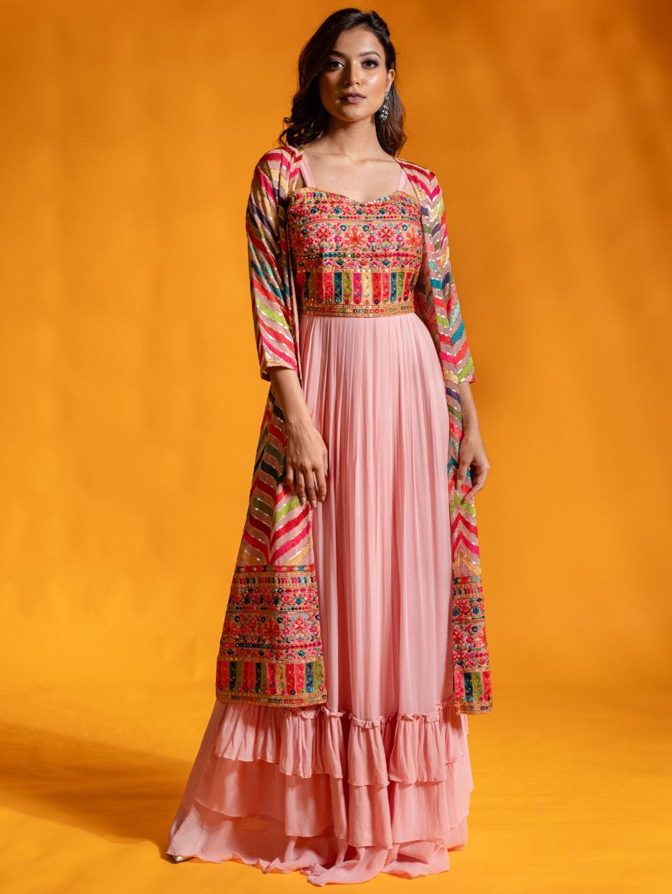 Pink Digital Print Designer Gown With Jacket | Designer Gown For Wedding