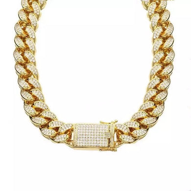 "SD Gold 16"" Cuban Links Chain Necklace"
