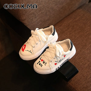 Kids I Love You Print Sneakers