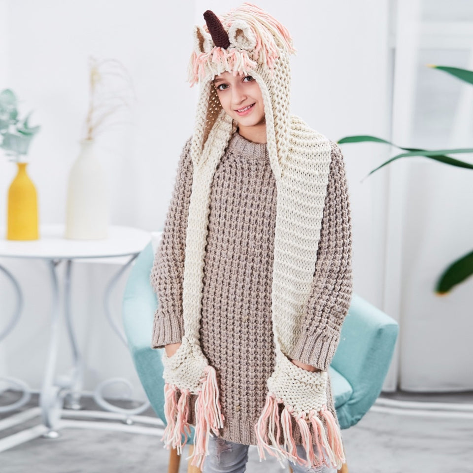 Unicorn Knitted Scarves with Hoodie