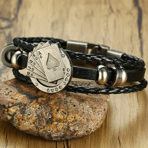 Straight Flush Poker Leather Bracelet