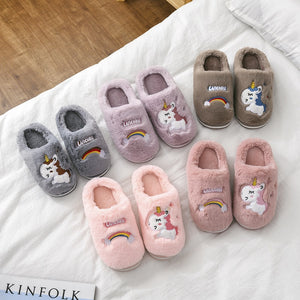 Fluffy Unicorn Slippers for Kids