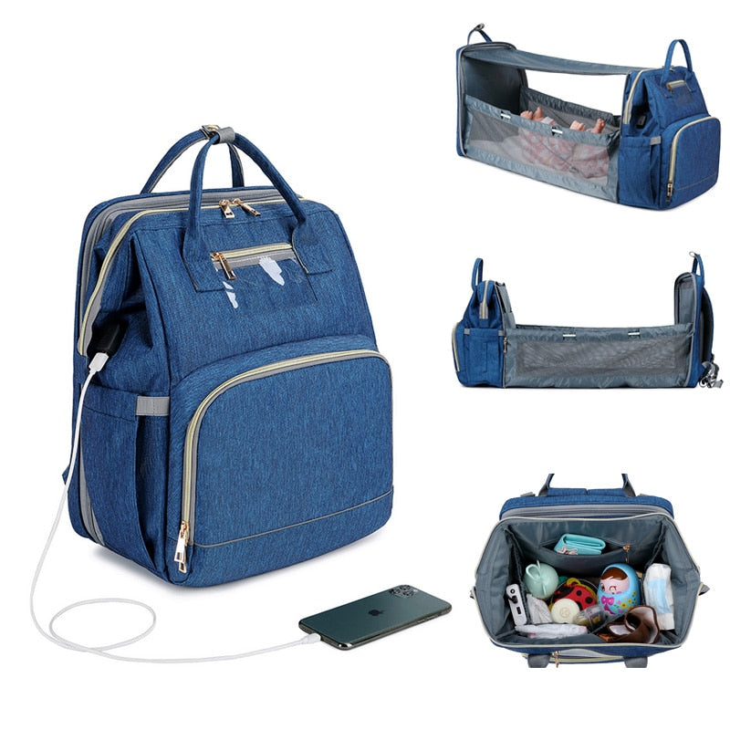 Diaper Backpack with Mini Bed Crib