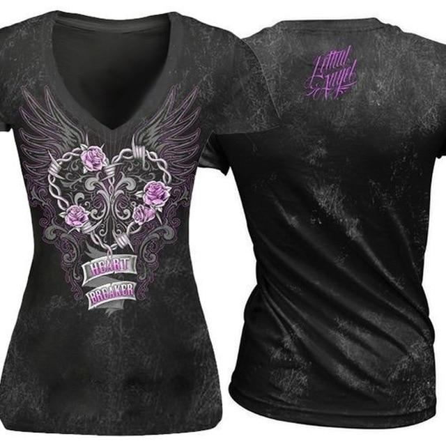 Lethal Angel Women Skeleton Print T-shirt