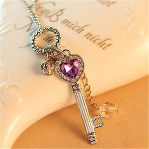 Key to My Heart Crystal Necklace