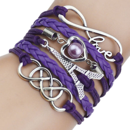 Leather Love Bead Eiffel Tower Charm Bracelets