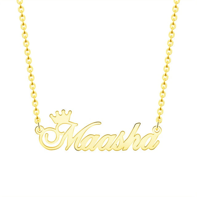 Personalized Crown and Name Necklace