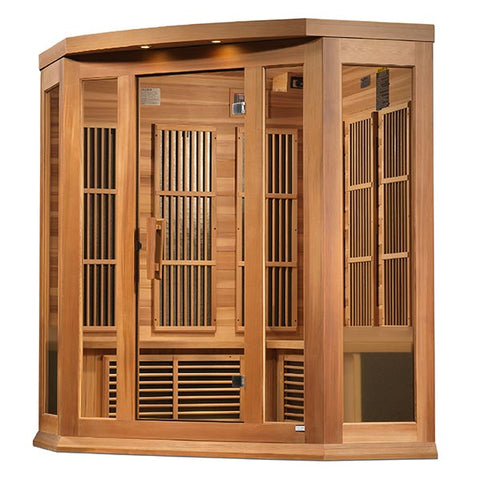 "Golden Designs Maxxus ""Chaumont Edition"" 3 Person Corner Near Zero EMF FAR Infrared Sauna"