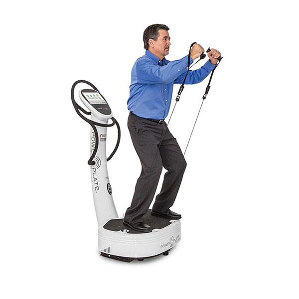 Power Plate FitStop 3D View With Model Exercising