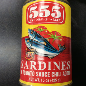 555 Sardines HOT in TS chili added Big 15oz