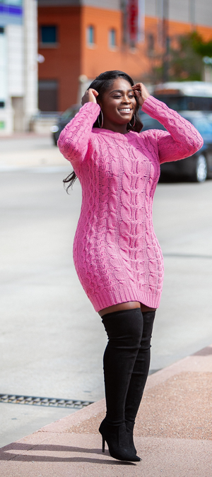 Daja Pink Sweater Dress