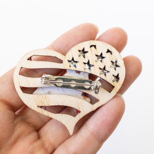 Pawtriotic Frappy Corgi Heart-shaped USA Flag Brooches