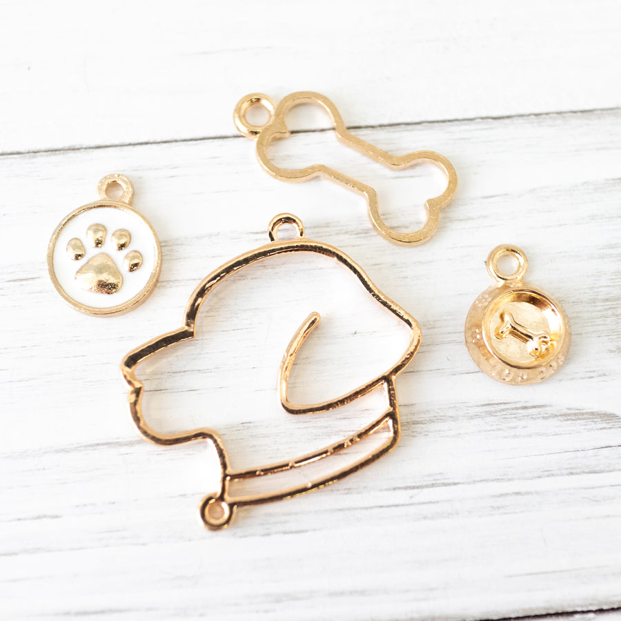 4 piece set | Labrador - Golden Retriever Dog and Dog Bone Open Back Bezel Frames | Dog Food Bowl and Paw Charms | DIY Resin Craft