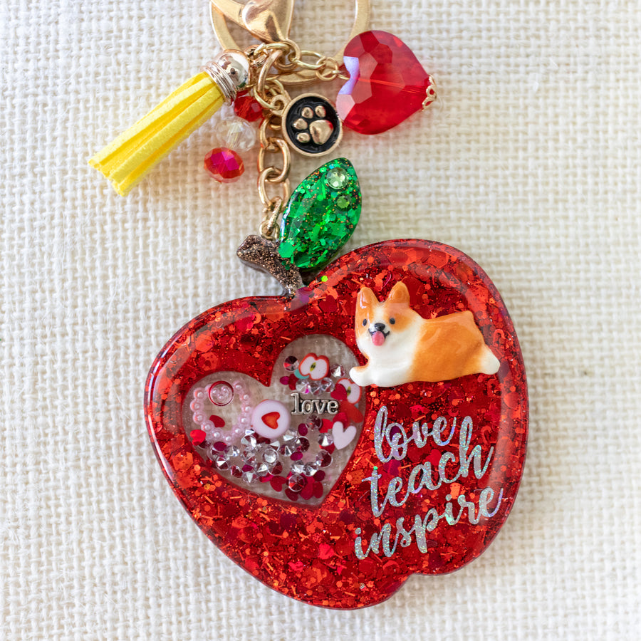 Corgi Apple Liquid Shaker Charm Keychain