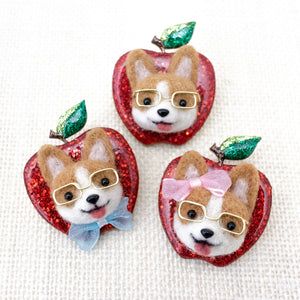 Nerdy Corgi Apple Pin with Blue Bow