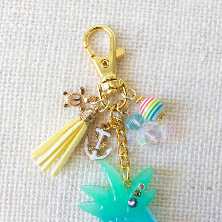 "Pineapple ""Under the Sea"" Charm Keychain [Glows in the Dark]"
