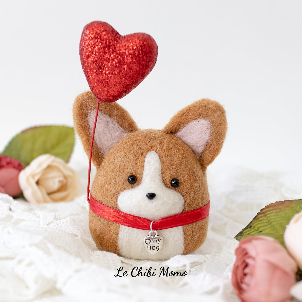 Valentine [PREORDER] Red Corgi with HEART MY DOG