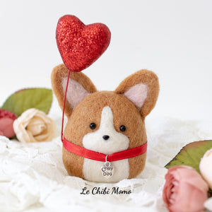 Valentine Red Corgi with HEART MY DOG