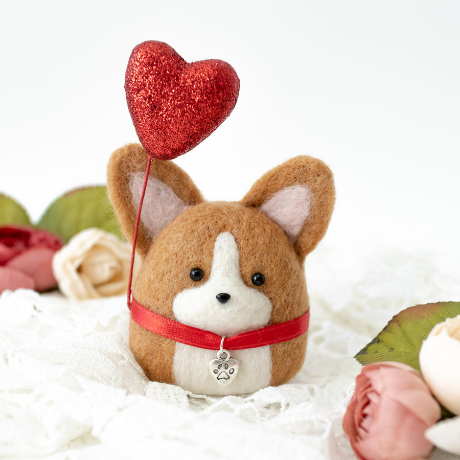 Valentine Corgi with Heart Balloon Ornament
