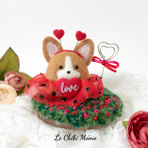 Valentine Corgi Love Bug in Tutu Photo Stand