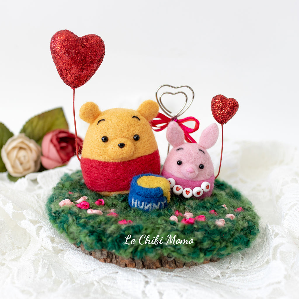 Valentine Pooh Bear and Piglet with Heart Balloons Photo Stand