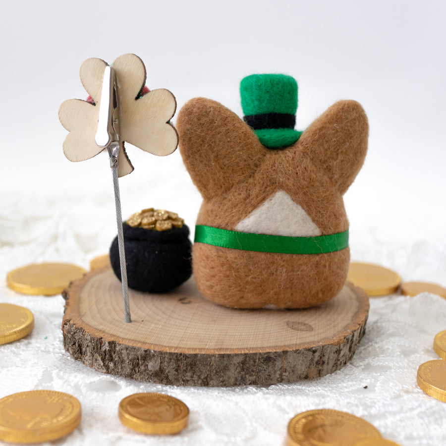 Leprechaun Corgi with Pot of Gold Photo Stand
