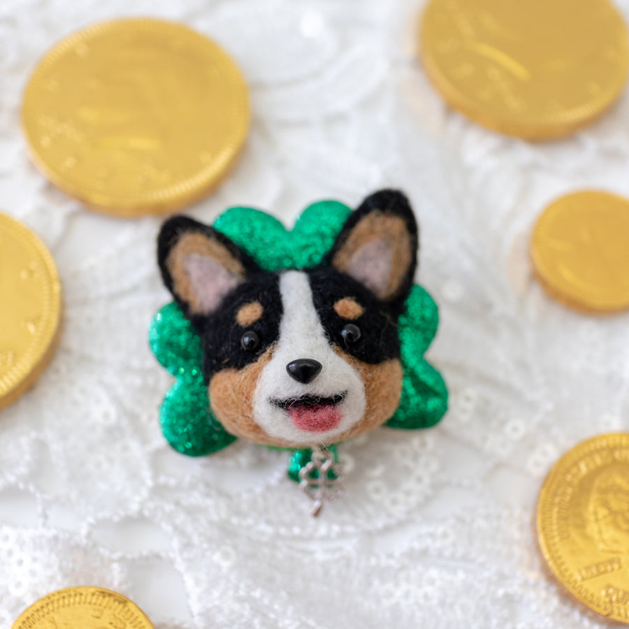 Lucky Black Corgi Clover Brooch