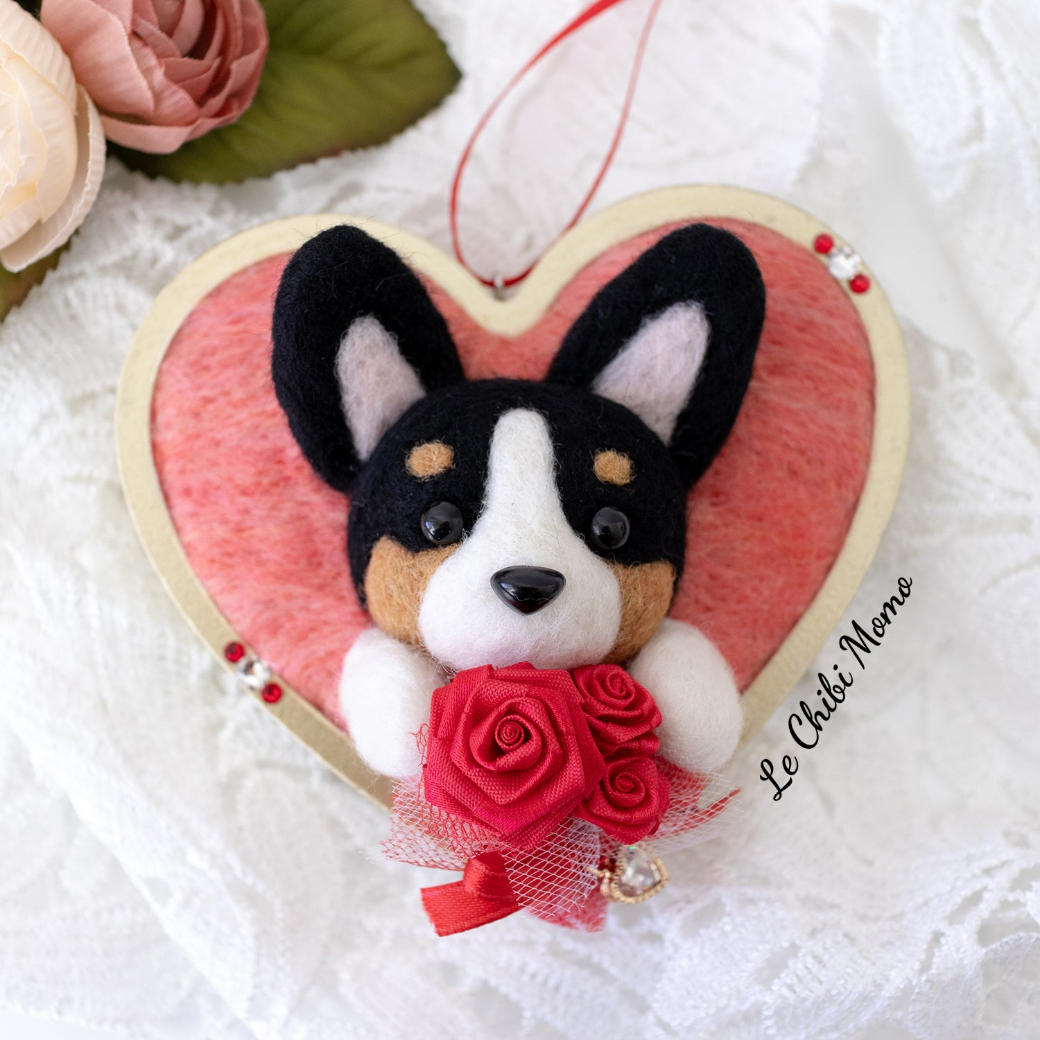 Valentine Black Tri-colored Corgi Roses Heart Ornament