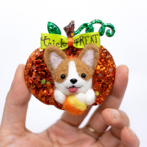Fall Corgi with Candy Corn Pumpkin Brooch