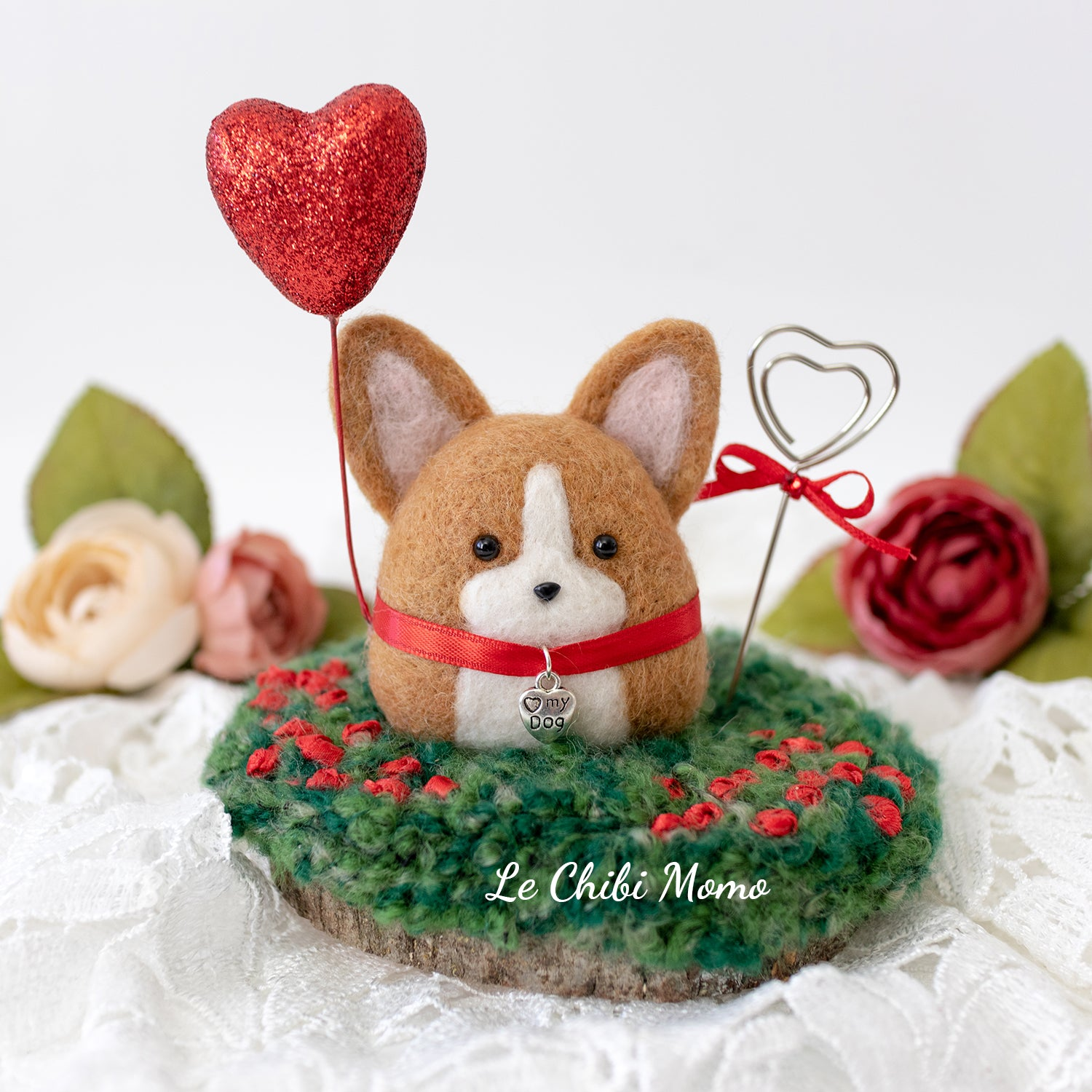 Valentine Corgi with Heart Balloon Photo Stand