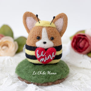 Valentine Corgi Bee with BE MINE heart