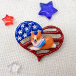 Patriotric Frappy Red/White Corgi with Bandana on small Heart Flag Pin
