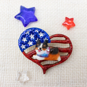 Pawtriotic Frappy Black Corgi Heart-shaped USA Flag Brooch
