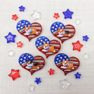 Pawtriotic Frappy Red Corgi Heart-shaped USA Flag Brooch