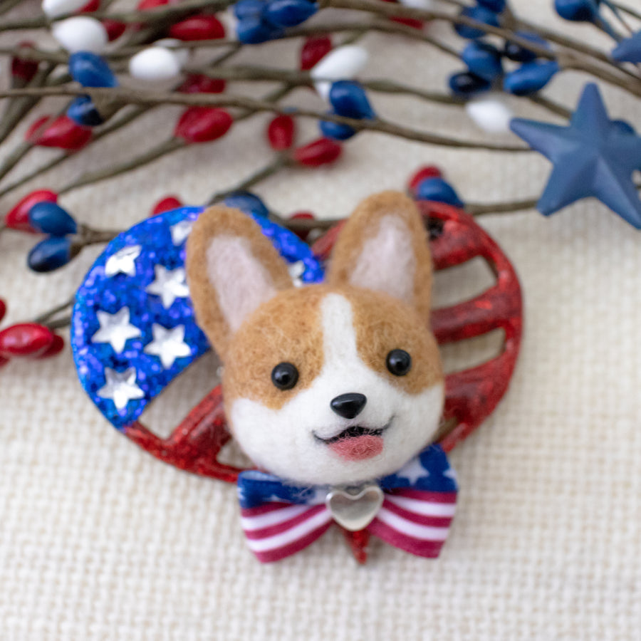 Pawtriotic Corgi Heart-shaped USA Flag Brooch
