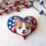 Patriotric Corgi with Bow on Heart Flag Pin