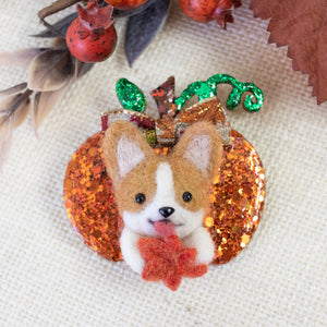 Fall Corgi with Maple Pumpkin Brooch