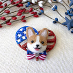 Patriotric Corgi with Bowtie on Heart Flag Pin