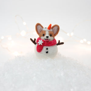 Snowman Corgi with Red Scarf and Swarovski Button Snow Globe