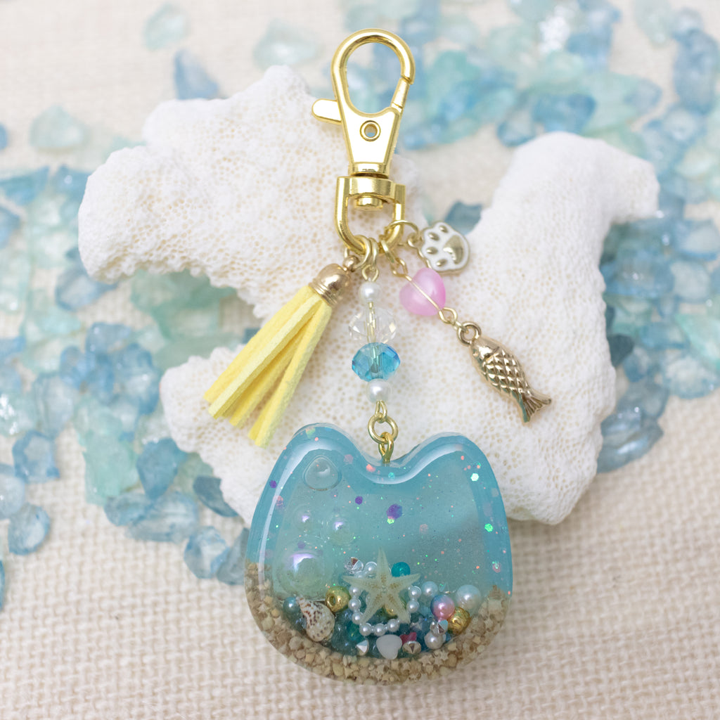 Small Cat Beach Vibe [GLOW IN DARK] Liquid Shaker Charm Keychain